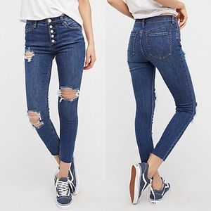 FP We the Free Reagan Destroyed Crop Skinny Jeans